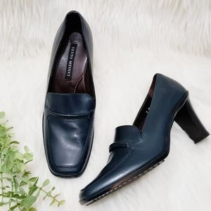 Sesto Meucci Heeled Loafers Navy Blue Leather 7 M